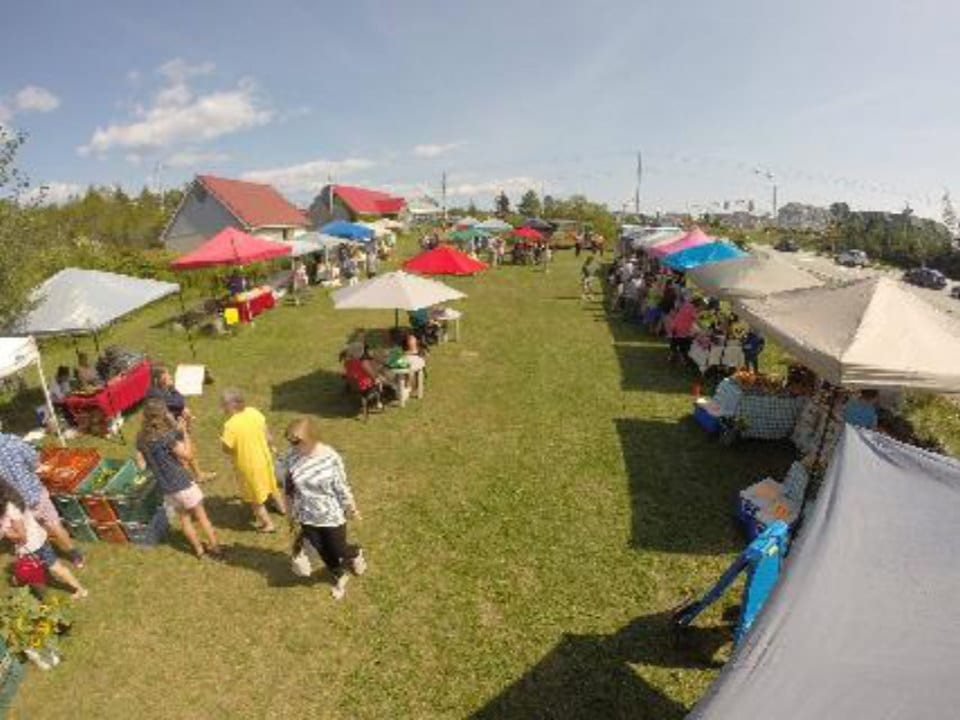 public markets view of the field and outdoor kiosks with customers market upper tantallon nova scotia canada ulocal local products local purchase local produce locavore tourist