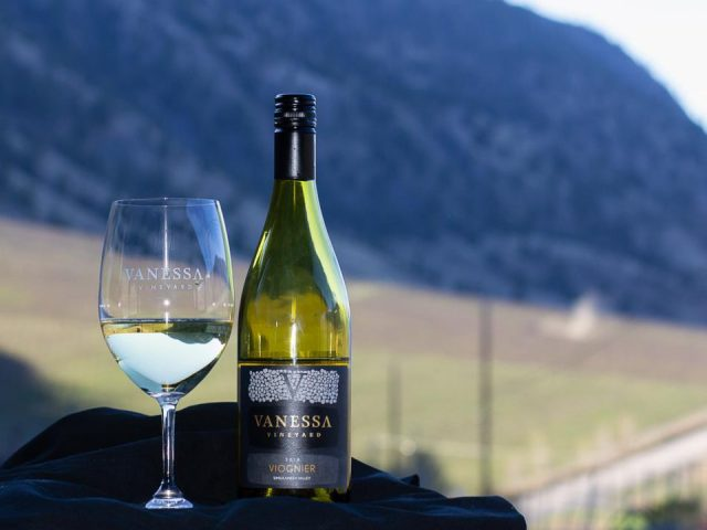 vineyard glass of white wine and bottle beside with vineyard in the background vanessa vineyard cawston british colombia canada ulocal local products local purchase local produce locavore tourist