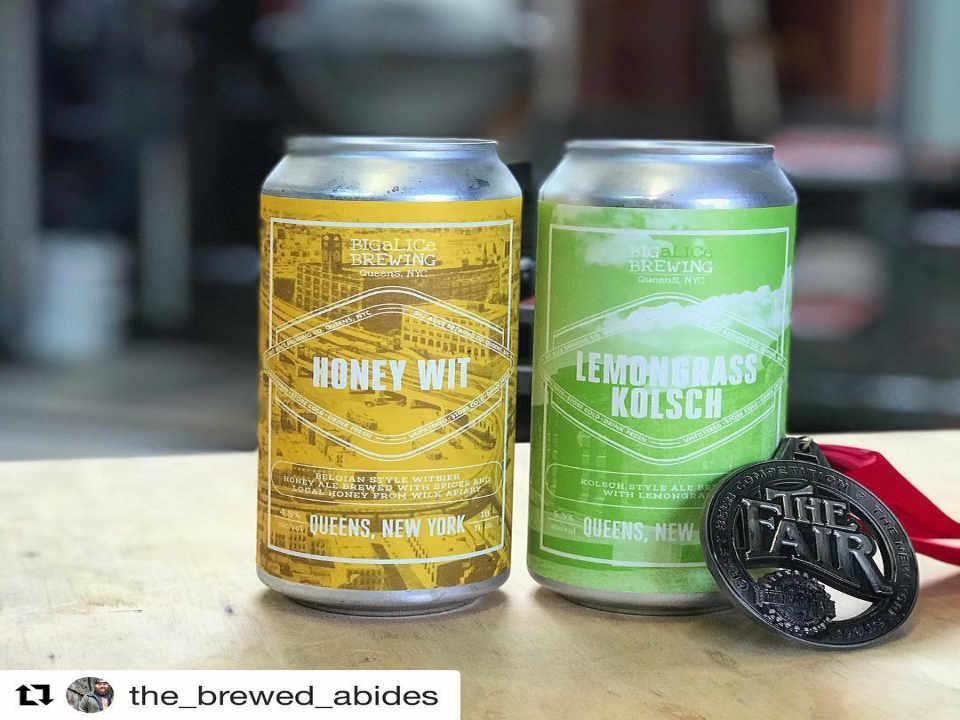 Microbrasserie canettes de bière Big Alice Brewing Co. Long Island City New York États-Unis Ulocal produit local achat local