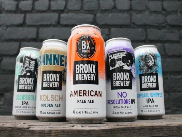 Microbrewery beer cans Bronx Brewery Bronx New York United States Ulocal local product local purchase