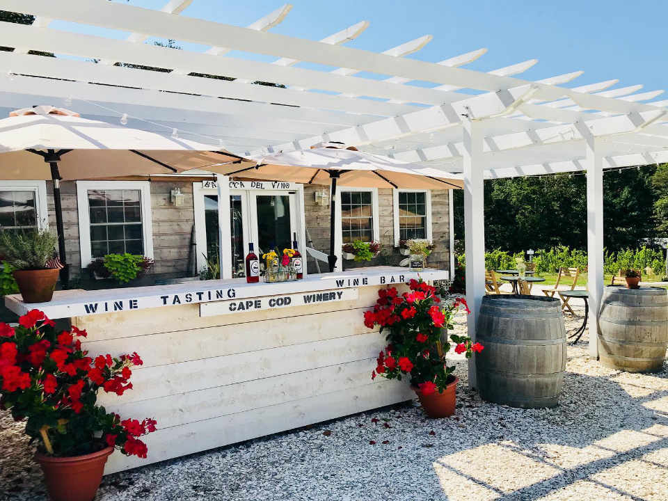 Vignoble terrasse Cape Cod Winery Teaticket Massachusetts États-Unis Ulocal produit local achat local