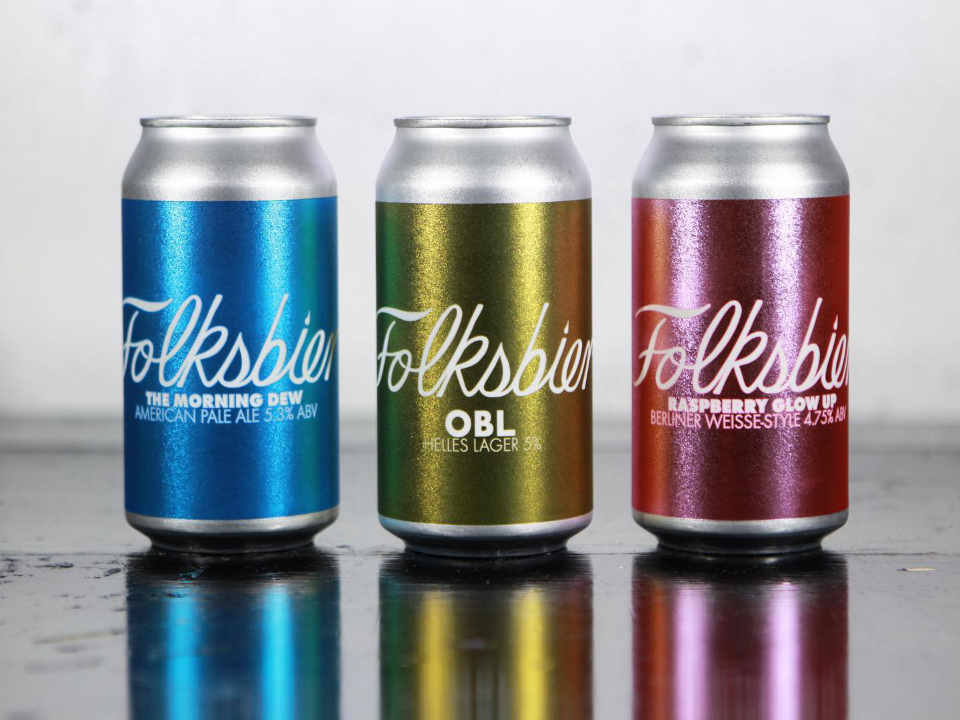 Microbrewery beer cans Folksbier Brauerei Brooklyn New York United States Ulocal local product local purchase