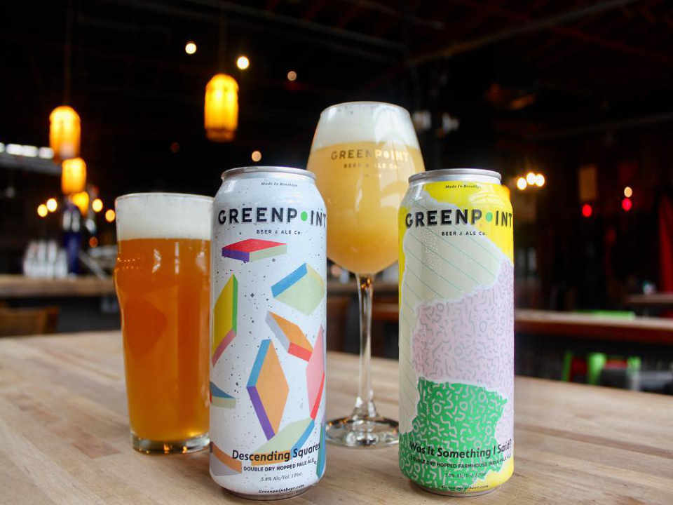Microbrewery glasses and beer cans Greenpoint Beer & Ale Co. Brooklyn New York United States Ulocal local product local purchase