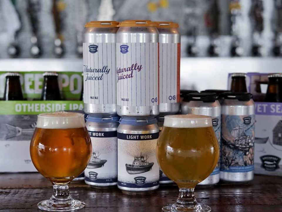 Microbrewery Glasses and Beer Cans Greenport Harbor Brewing Company Greenport New York United States Ulocal Local Product Local Purchase