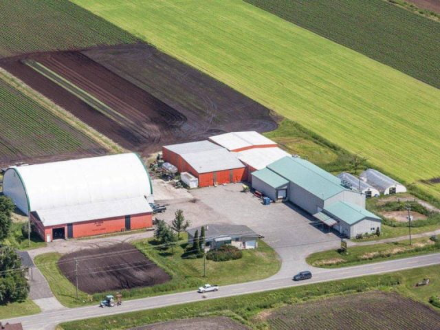 produce markets aerial view of the farm and fields au jardin noir ange-gardien quebec canada ulocal local products local purchase local produce locavore tourist