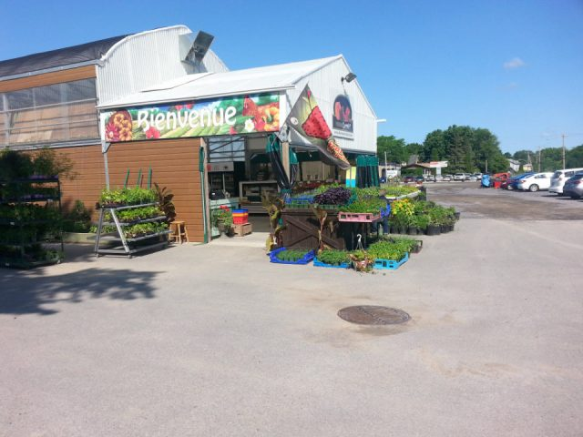 produce picking greenhouse store and fruit and vegetable kiosk at the entrance overlooking the parking ferme cormier l'assomption quebec canada ulocal local products local purchase local produce locavore tourist
