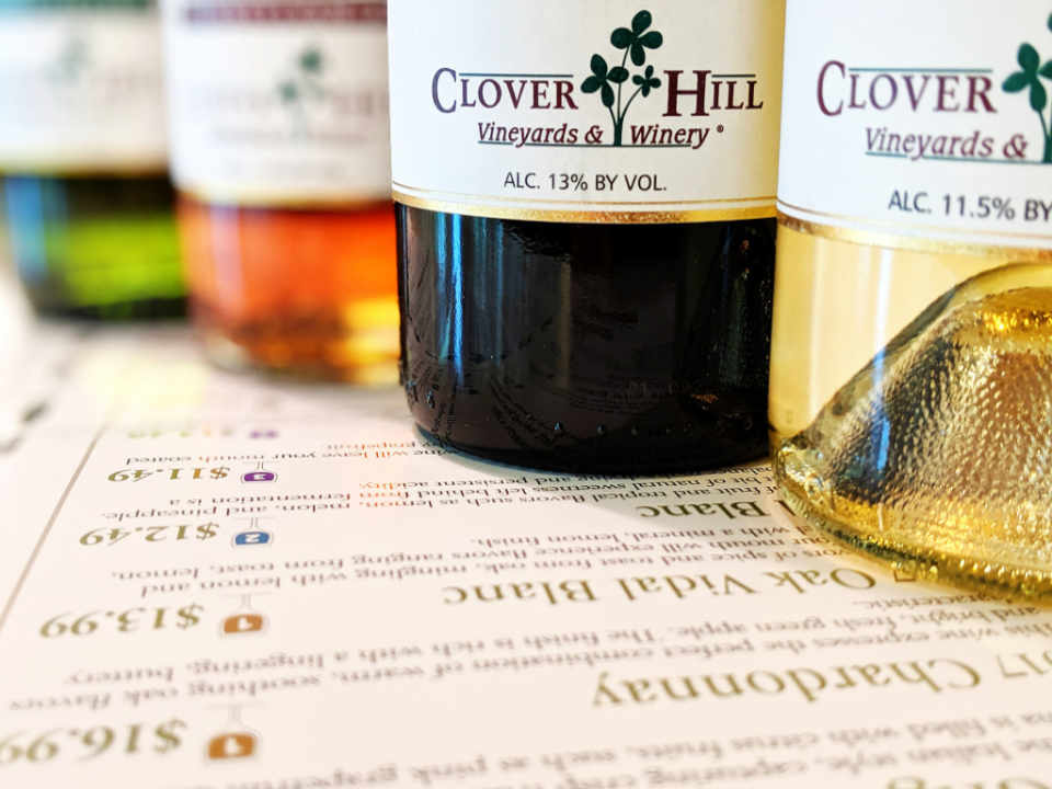 Vineyard wine bottles Clover Hill Vineyards & Winery Breinigsville Pennsylvania USA Ulocal Local Product Local Purchase