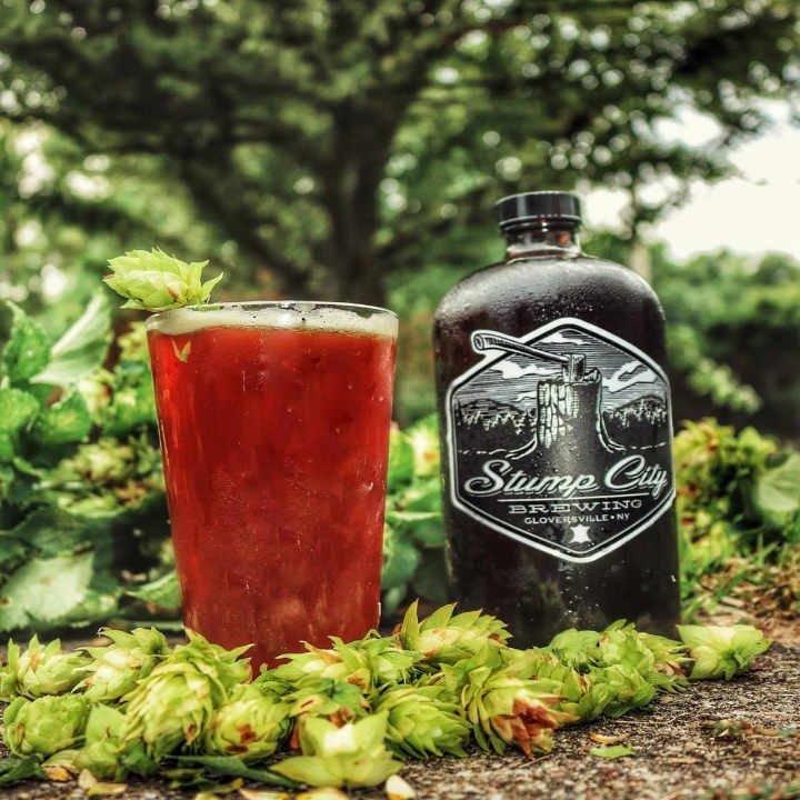 Microbrasserie verre et bouteille de bière Stump City Brewing Gloversville New York États-Unis Ulocal produit local achat local