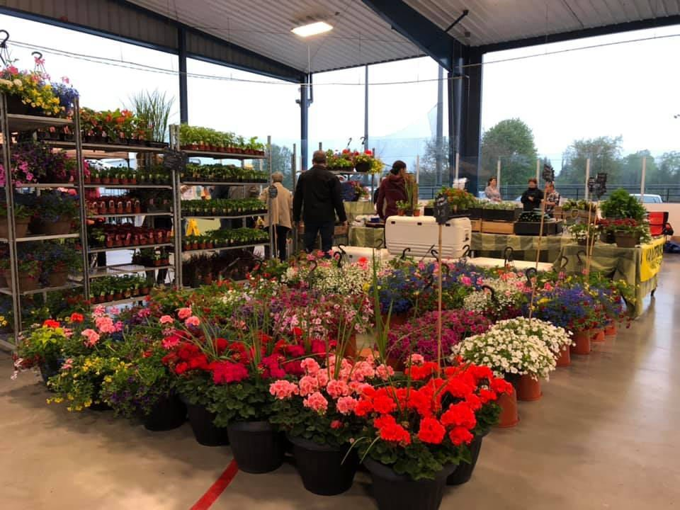 public markets kiosk of plants and flowers on display stands and customers with employees aberfoyle farmers market puslinch ontario canada ulocal local products local purchase local produce locavore tourist
