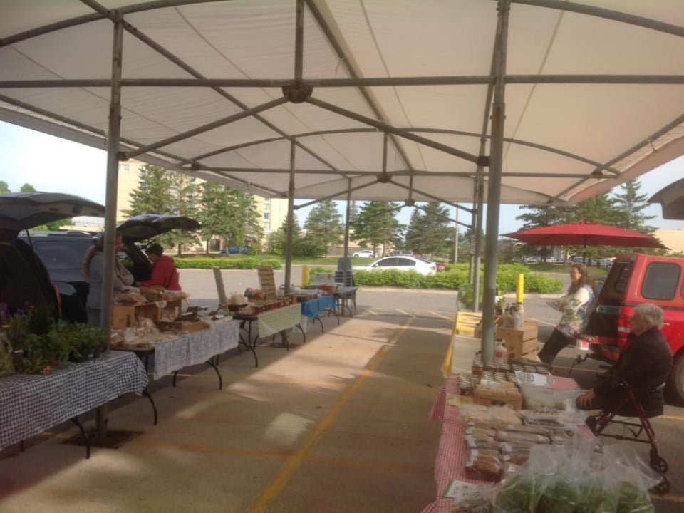 public markets outdoor covered kiosks of farmers and artisans with attendants algoma farmers market sault ste marie ontario canada ulocal local products local purchase local produce locavore tourist