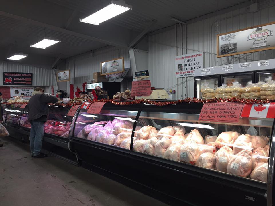 public markets refrigerated meat counter inside the market with a wide variety brantford farmers market brantford ontario canada ulocal local products local purchase local produce locavore tourist