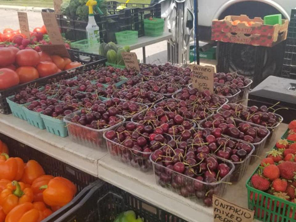 marché public kiosque extérieur de fruits et légumes caledonia farmers market caledonia ontario canada ulocal produits locaux achat local produits du terroir locavore touriste