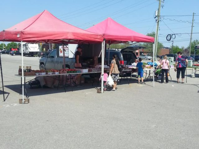 public markets outdoor kiosk of vegetables fruits and local products with customers caledonia farmers market caledonia ontario canada ulocal local products local purchase local produce locavore tourist