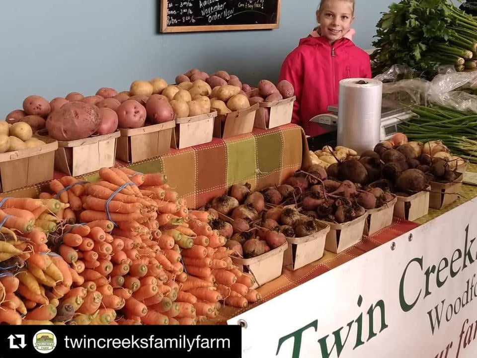 public markets twincreeksfamilyfarm vegetable indoor kiosk with a smiling girl collingwood winter farmers market collingwood ontario canada ulocal local products local purchase local produce locavore tourist