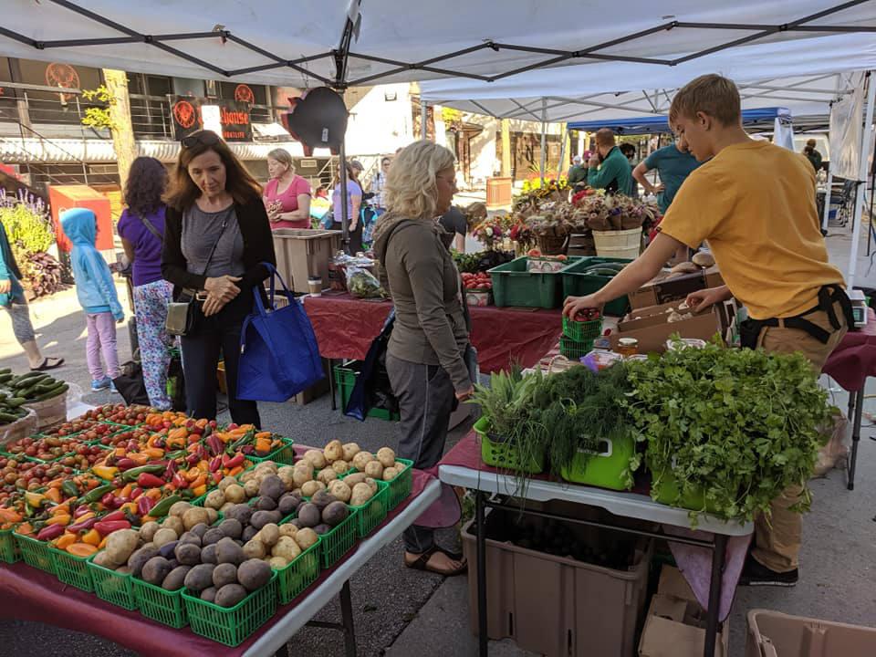 marché public kiosques extérieurs de fruits et légumes avec gens autour des tables downtown windsor farmers market windsor ontario canada ulocal produits locaux achat local produits du terroir locavore touriste