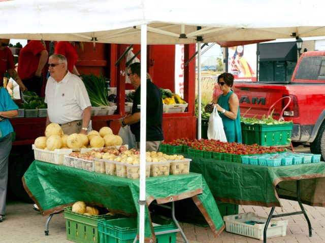 public markets outdoor kiosk of fruits and vegetables with customers east gwillimbury farmers market east gwillimbury ontario canada ulocal local products local purchase local produce locavore tourist
