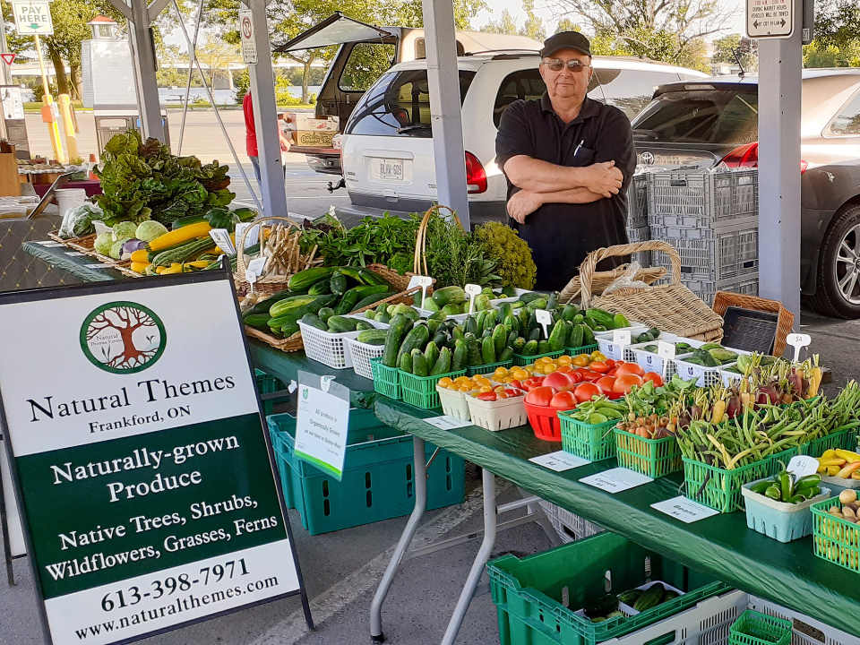 public markets kiosk of fruits and vegetables from the producer natural theme products grown naturally with his representative front street farmers market trenton ontario canada ulocal local products local purchase local produce locavore tourist