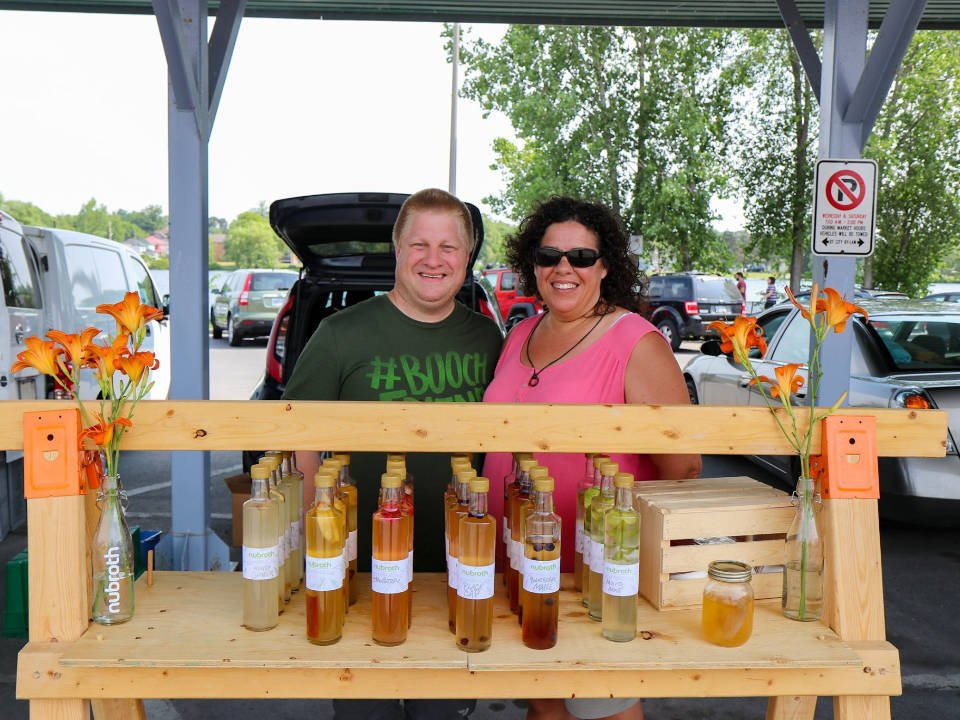 public markets nubroth kiosk soups, broths and fresh healthy juices with 2 representatives front street farmers market trenton ontario canada ulocal local products local purchase local produce locavore tourist