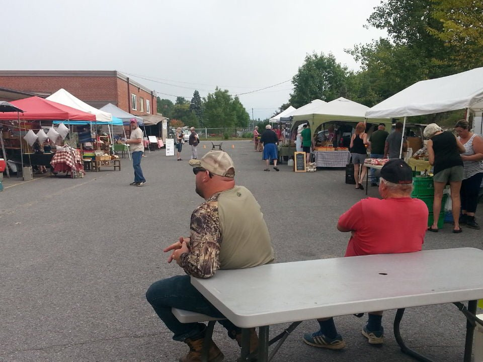 public markets outdoor kiosks in the parking lot with people on the site and picnic table where 2 men are sitting frontenac farmers market verona ontario canada ulocal local products local purchase local produce locavore tourist