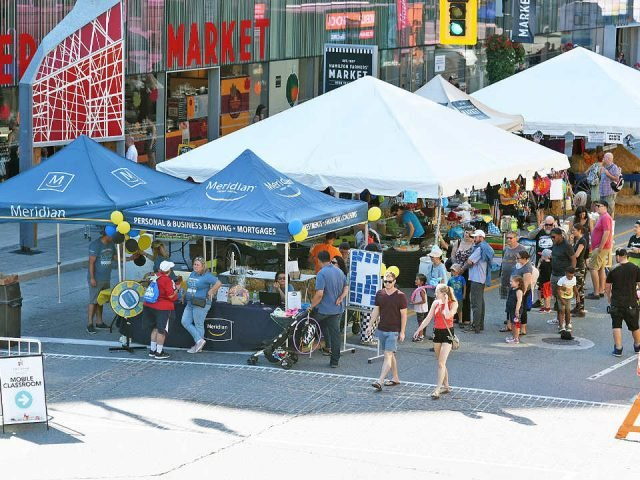 public markets a nice day at the market with people on the street hamilton farmers market hamilton ontario canada ulocal local products local purchase local produce locavore tourist