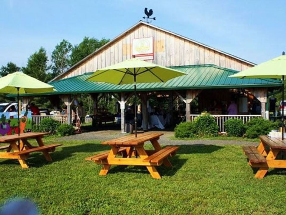 public markets covered market with picnic tables outside johnson farmers market desbarats ontario canada ulocal local products local purchase local produce locavore tourist
