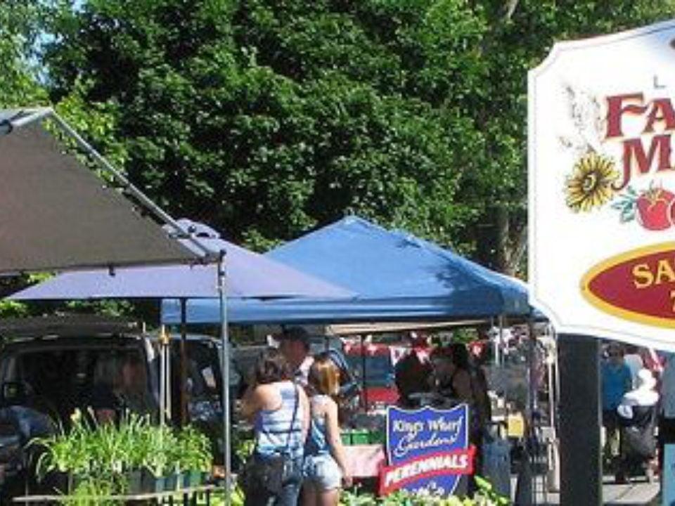 marché public kiosques extérieurs avec gens sur le site lindsay farmers market lindsay ontario canada ulocal produits locaux achat local produits du terroir locavore touriste