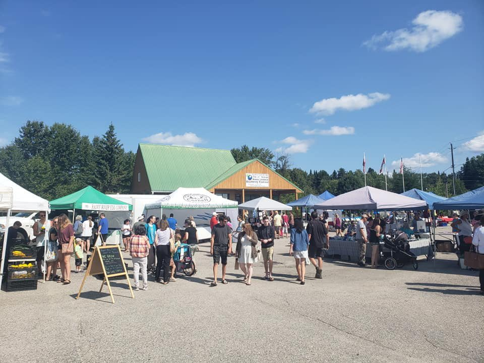 public markets outdoor market with customers at kiosks during a sunny day northwest farmers market sioux lookout ontario canada ulocal local products local purchase local produce locavore tourist