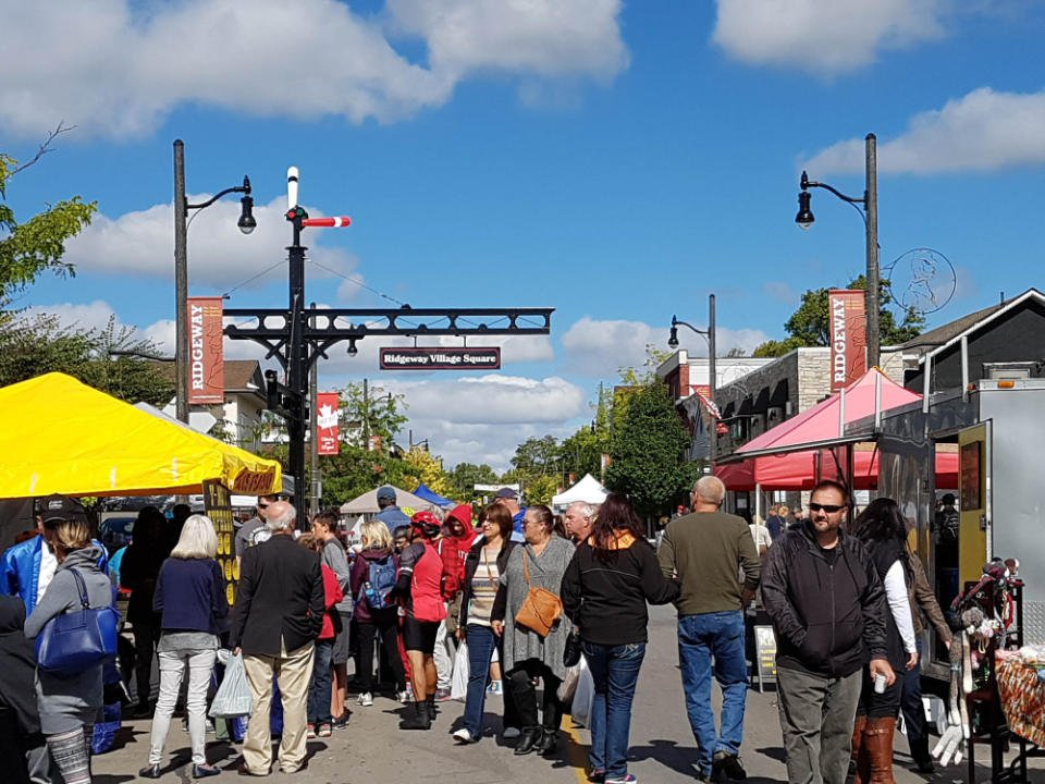 public markets outdoor market with people walking around kiosks with a blue sky ridgeway farmers market ridgeway ontario canada ulocal local products local purchase local produce locavore tourist