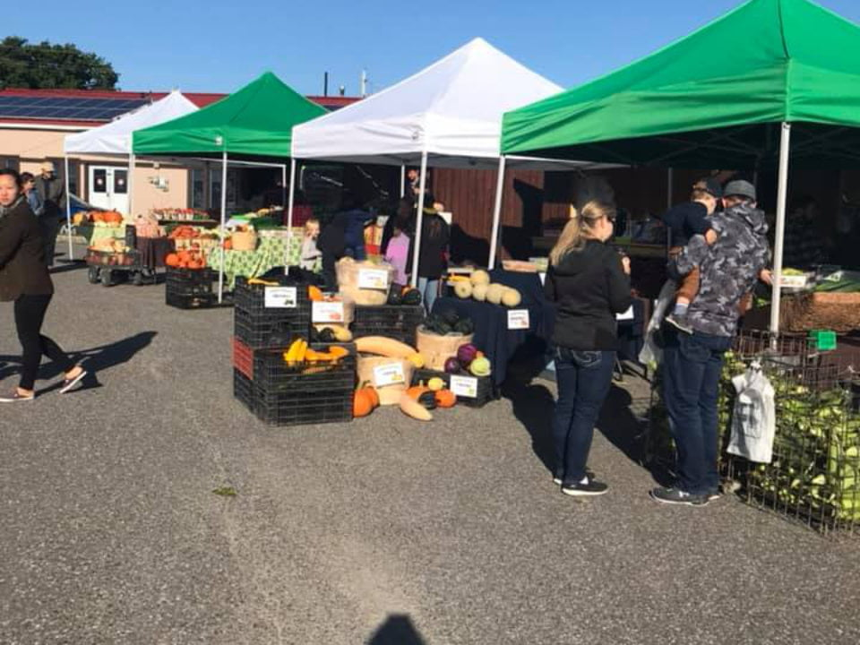 marché public marché extérieur avec gens dans les kiosques avec un ciel bleu riverside farmers market new liskeard ontario canada ulocal produits locaux achat local produits du terroir locavore touriste