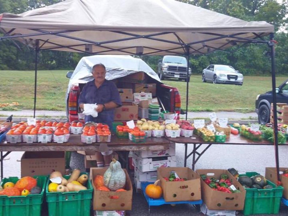 public markets table of fruits and vegetables with his representative tillsonburg farmers market tillsonburg ontario canada ulocal local products local purchase local produce locavore tourist