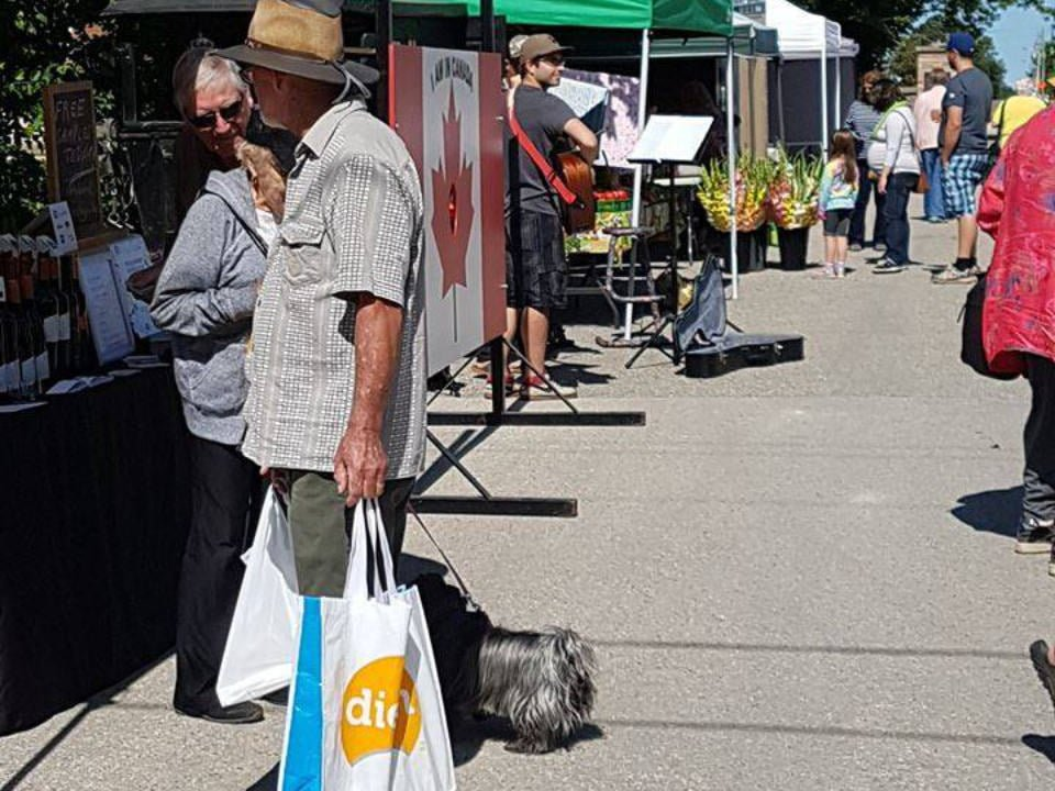 marché public journée ensoleillée avec clients aux kiosques et musique live wellington north farmers market mount forest ontario canada ulocal produits locaux achat local produits du terroir locavore touriste