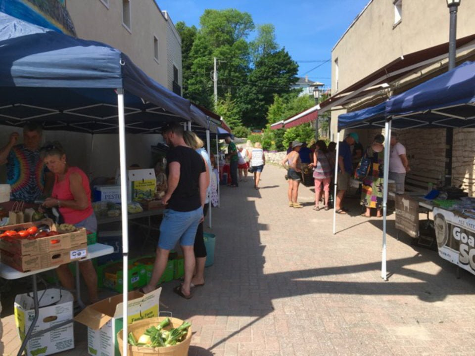 public markets sunny and busy day at the market wiarton farmers market wiarton ontario canada ulocal local products local purchase local produce locavore tourist