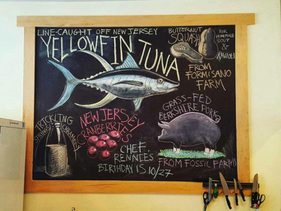 restaurant ingredients of the day drawn on a chalk board 12 farms restaurant hightstown new jersey united states ulocal local products local purchase local produce locavore tourist