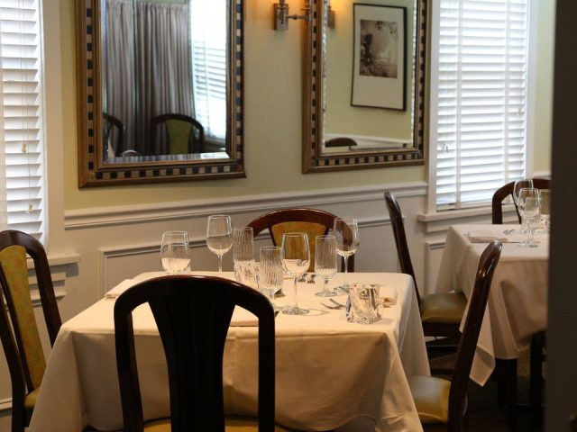 restaurant restaurant interior square tables white tablecloth soft and classic decor Anthonys creative italian cuisine haddon heights new jersey united states ulocal local products local purchase local produce locavore tourist
