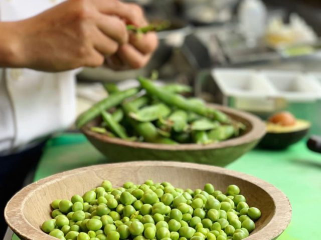 restaurant chef prepares dishes with fresh peas and delicious spring farm dishes agricola eatery princeton new jersey united states ulocal local products local purchase local produce locavore tourist