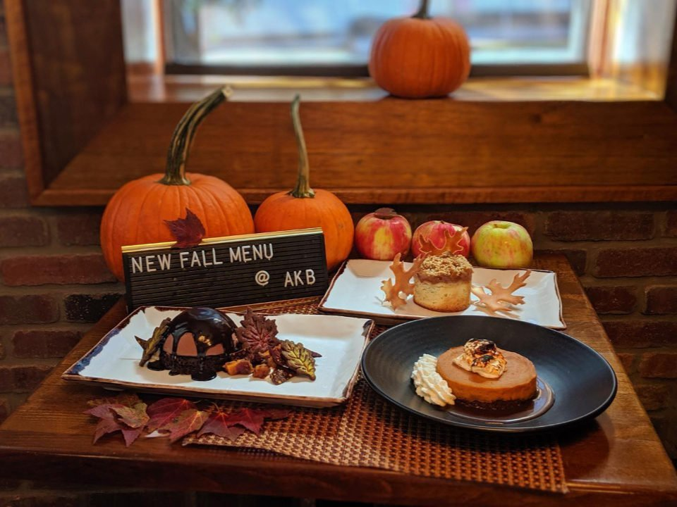 restaurant autumn season menu with pumpkin apple dessert plate ariane kitchen and bar verona new jersey united states ulocal local products local purchase local produce locavore tourist