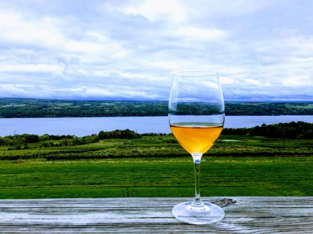 vineyards glass of wine with spectacular view of the estate and lake atwater estate vineyards burdett new york united states ulocal local products local purchase local produce locavore tourist