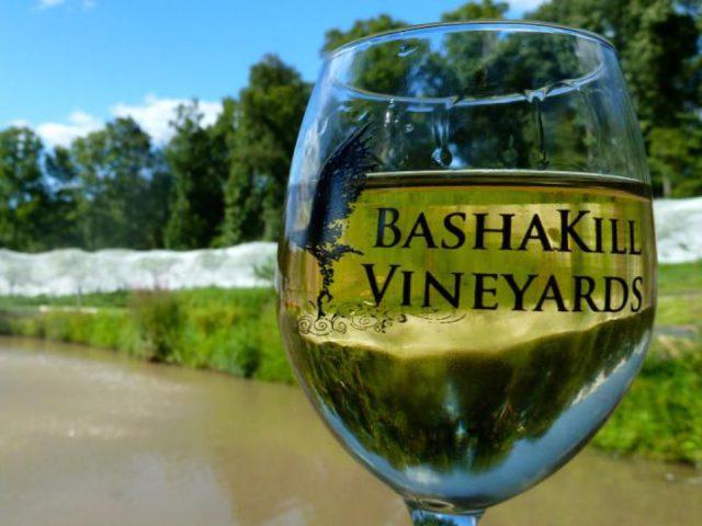 vignoble verre de vin blanc avec nature et lac en arrière plan bashakill vineyards wurtsboro new york états unis ulocal produits locaux achat local produits du terroir locavore touriste