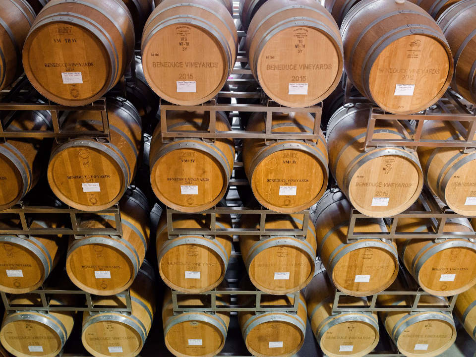 vineyard two dozen of 225 Liter American Oak wine barrels beneduce vineyards pittstown new jersey united states ulocal local products local purchase local produce locavore tourist