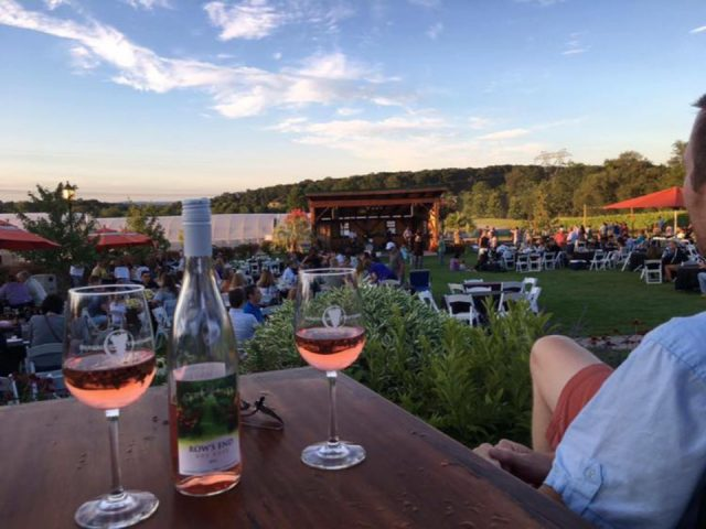 vineyard people enjoying the estate and the terrace with a glass of rosé or dry riesling at a table while listening to a live band beneduce vineyards pittstown new jersey united states ulocal local products local purchase local produce locavore tourist