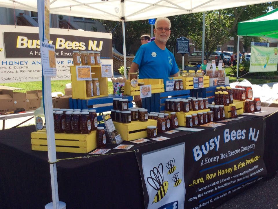 public markets kiosk of busy bees new jersey with his representative brigantine farmers market brigantine new jersey united states ulocal local products local purchase local produce locavore tourist