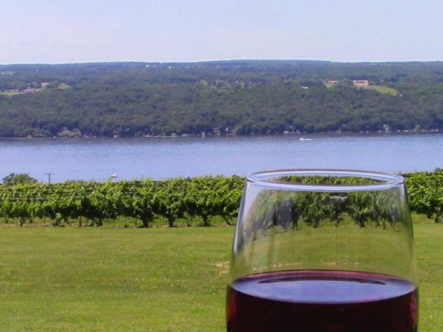 vineyards glass of red wine with vineyard and seneca lake view catherine valley winery burdett new york united states ulocal local products local purchase local produce locavore tourist