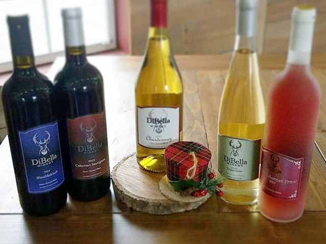 vineyard assortment of 5 bottles of varied wine dibella winery woolwich township new jersey united states ulocal local products local purchase local produce locavore tourist