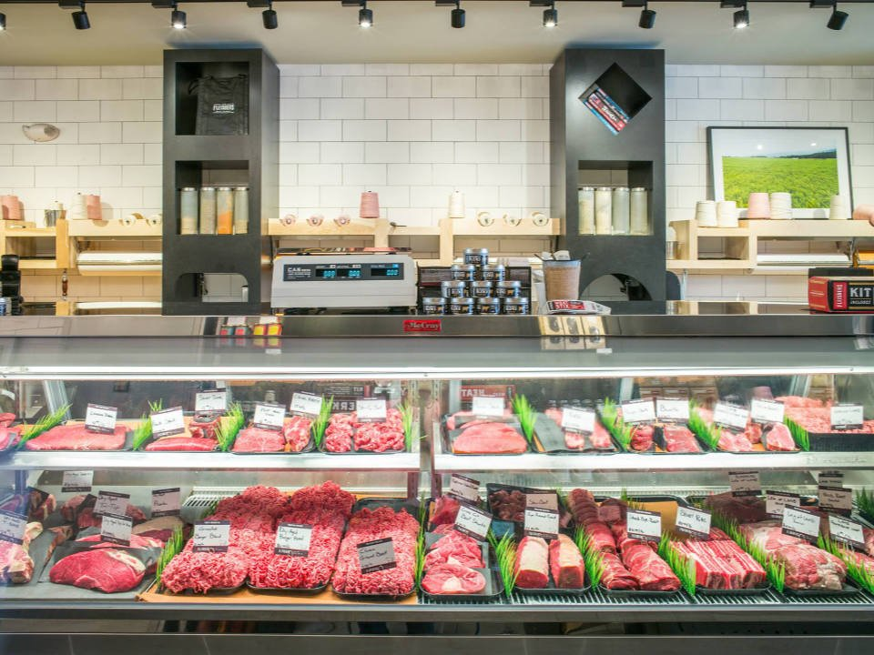 butcher shop large refrigerated meat counter fleishers craft butchery upper east side new york new york united states ulocal local products local purchase local produce locavore tourist