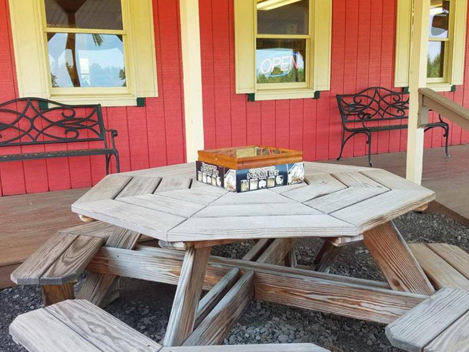 vineyards deck with picnic table and red building fruit yard winery dundee new york united states ulocal local products local purchase local produce locavore tourist