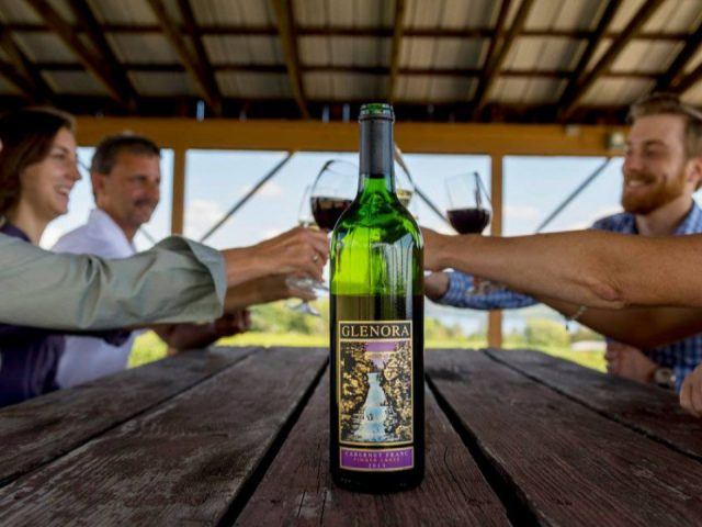 vineyards group of friends sitting at a wooden table raising their glass with bottle of red wine glenora wine cellars dundee new york united states ulocal local products local purchase local produce locavore tourist