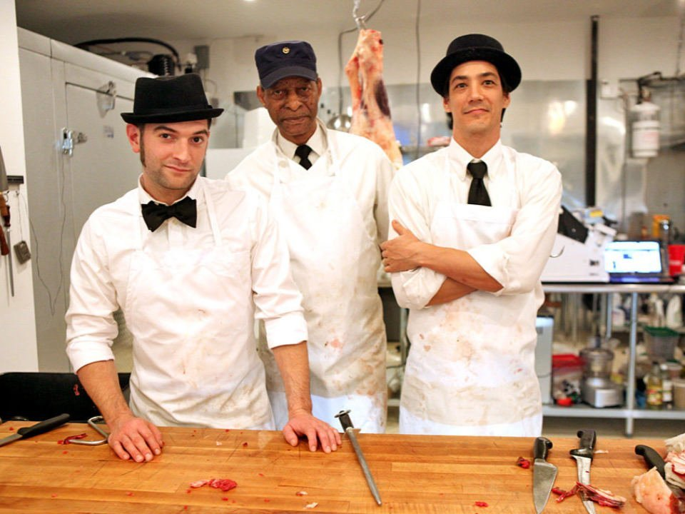 butcher shop 3 butchers with their black bowler hat at the meat counter harlem shambles new york new york united states ulocal local products local purchase local produce locavore tourist