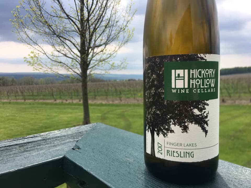 vineyards bottle of white wine on the edge of the terrace with vineyard view in autumn hickory hollow wine cellars dundee new york united states ulocal local products local purchase local produce locavore tourist