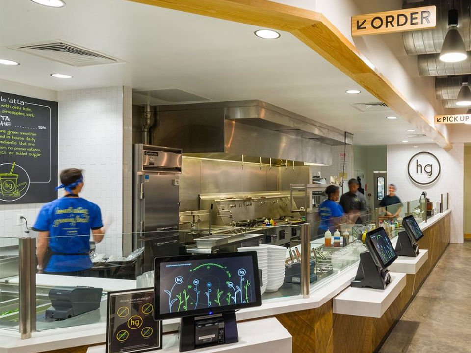 restaurant restaurant interior checkout counter and open kitchen with employees honeygrow cherry hill Ccherry hill new jersey united states ulocal local products local purchase local produce locavore tourist