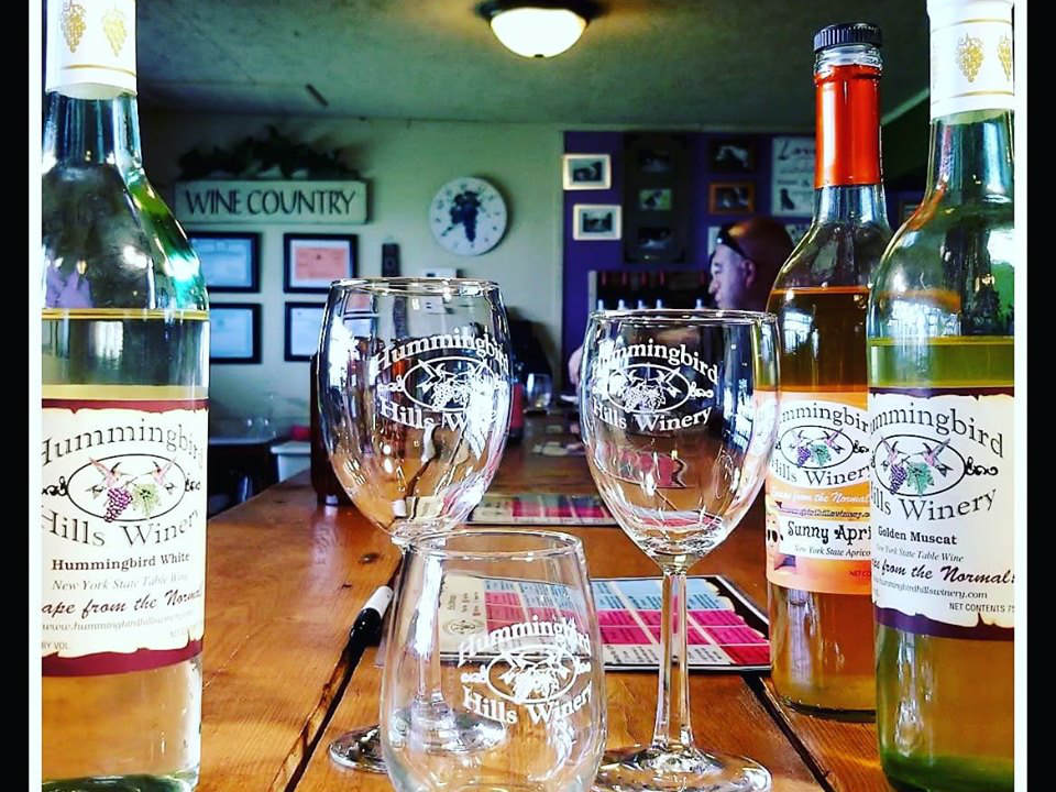 vineyards 3 bottles and glasses of red wine on a table and tasting room in the background hummingbird hills winery fultonville new york united states ulocal local products local purchase local produce locavore tourist